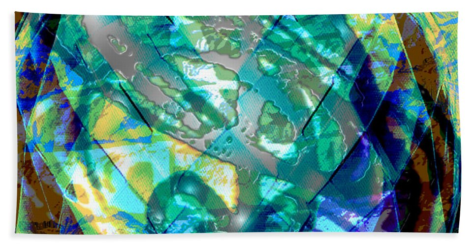 Abstract Bath Sheet featuring the digital art Mainspring Of Time by Seth Weaver