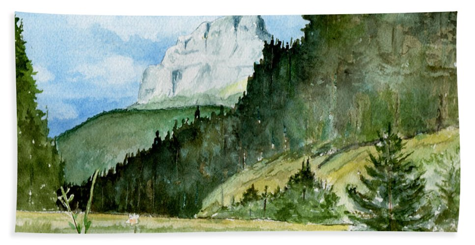 Landscape Bath Towel featuring the painting Majestic by Brenda Owen