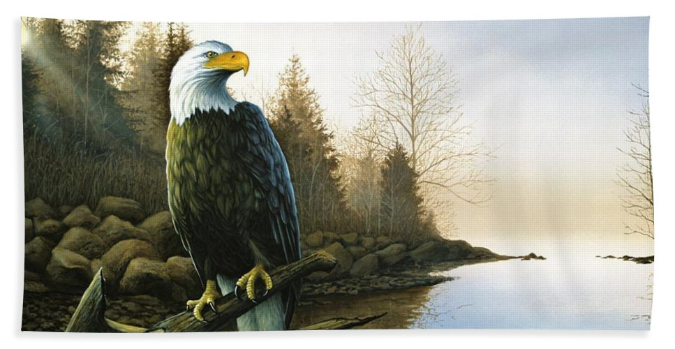 Eagle Hand Towel featuring the painting Majestic Light - Eagle by Anthony J Padgett