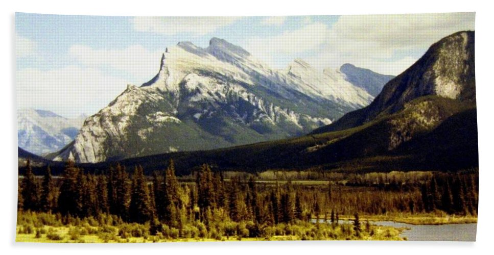 Mount Rundle Hand Towel featuring the photograph Majestic Mount Rundle by Will Borden