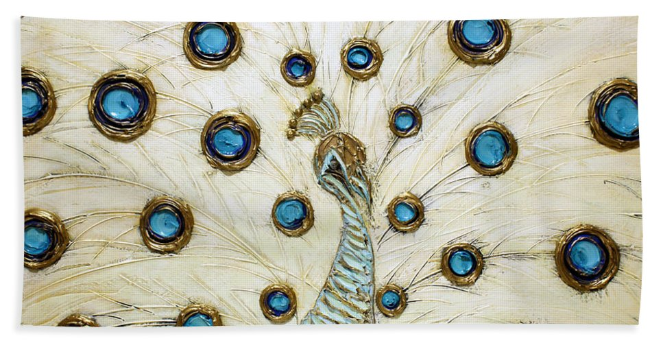 Peacock Hand Towel featuring the painting Majestic by Susanna Shaposhnikova