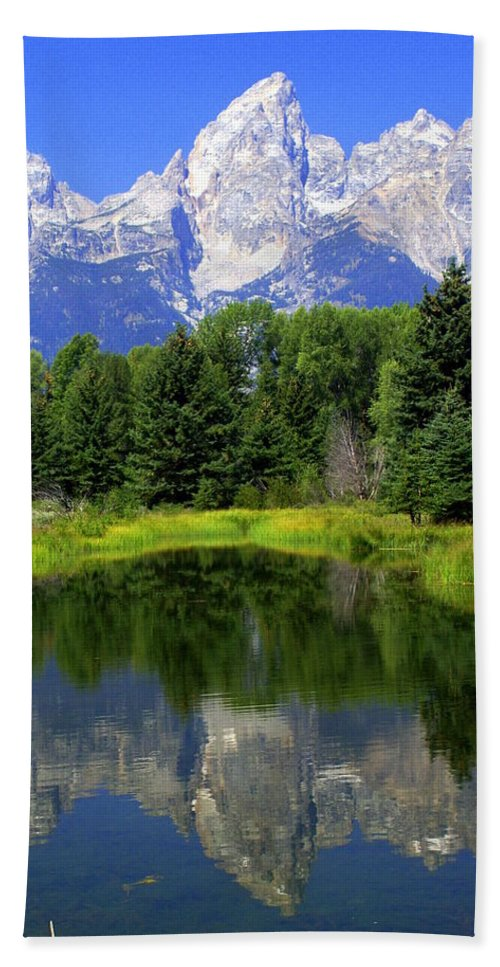 Grand Teton National Park Hand Towel featuring the photograph Majestic Tetons by Marty Koch