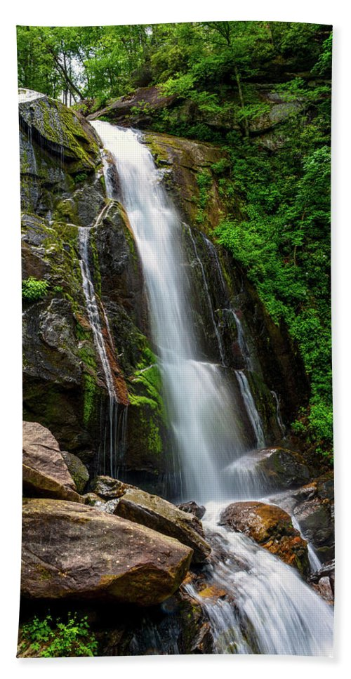 South Mountain State Park Hand Towel featuring the photograph Majestic Waterfall by Kathy Kmonicek
