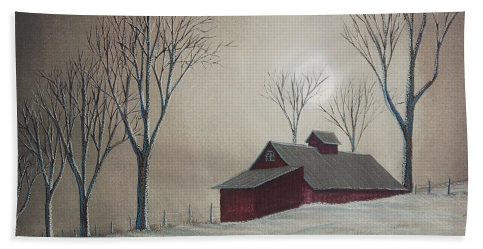 Winter Scene Paintings Hand Towel featuring the painting Majestic Winter Night by Charlotte Blanchard