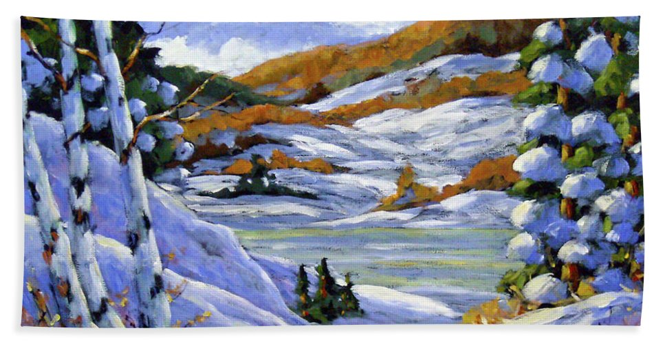 Art Bath Towel featuring the painting Majestic Winter by Richard T Pranke
