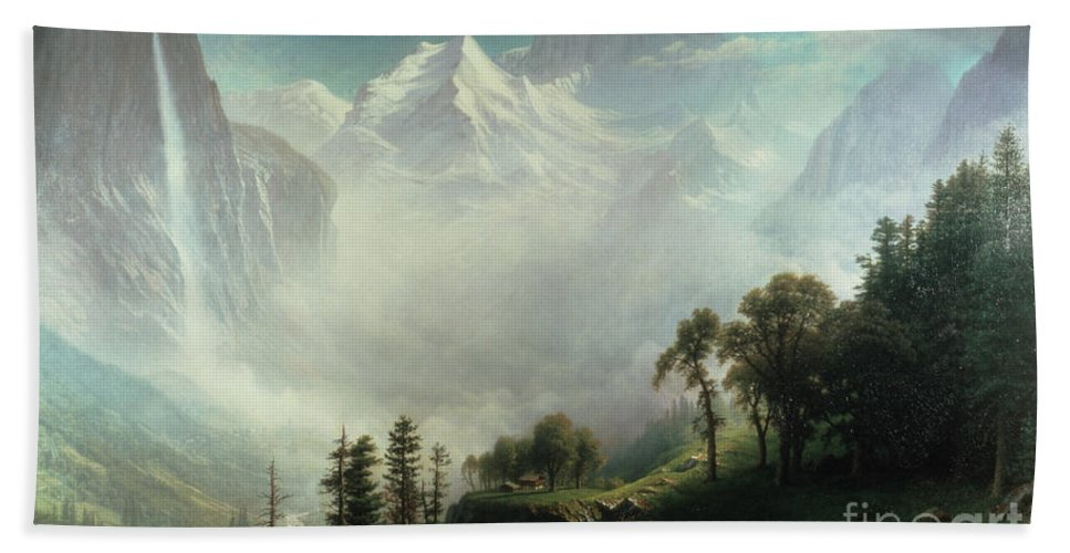 Majesty Bath Towel featuring the painting Majesty Of The Mountains by Albert Bierstadt