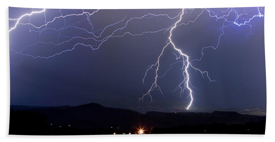 Lightning Hand Towel featuring the photograph Major Foothills Lightning Strikes by James BO Insogna