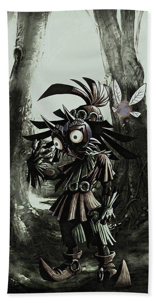 Zelda Bath Sheet featuring the digital art Majora's Mask by Alex Peregudov
