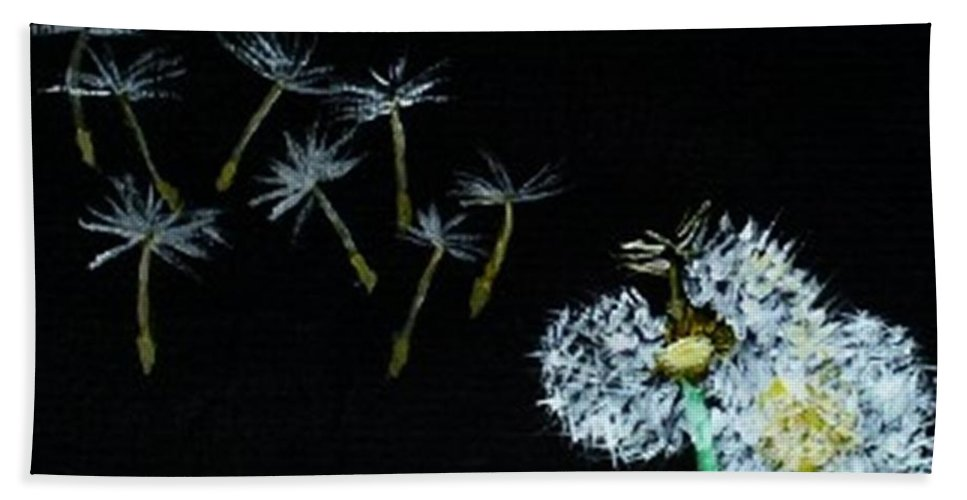 Dandelions Hand Towel featuring the painting Make A Wish by Leslye Miller