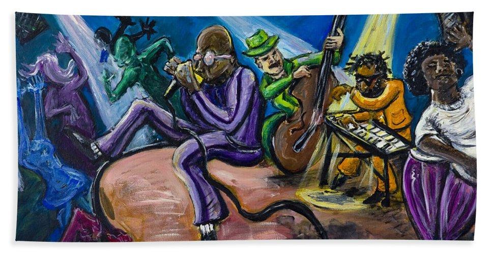 Jazz Music Art Black Musician Hand Towel featuring the painting Make It Funky by Jason Gluskin