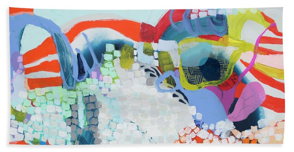 Abstract Bath Towel featuring the painting Make Some Noise by Claire Desjardins