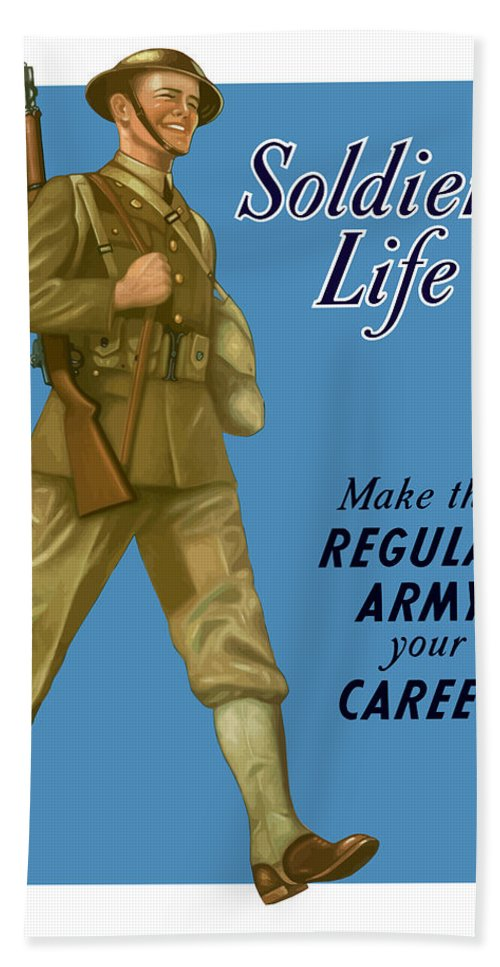 Army Bath Sheet featuring the painting Make The Regular Army Your Career by War Is Hell Store