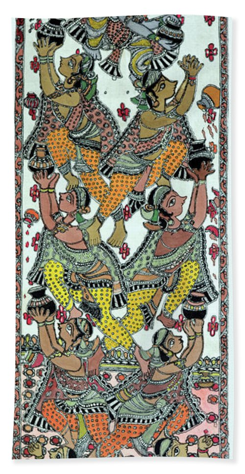 Bath Sheet featuring the painting Makhanchor by Prerna