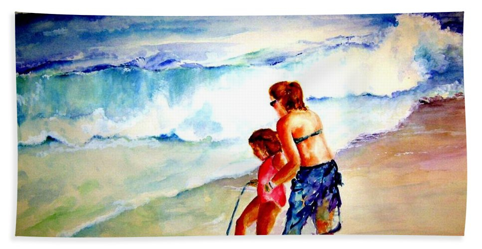 Beach Surf Hand Towel featuring the painting Making A Memory by Sandy Ryan