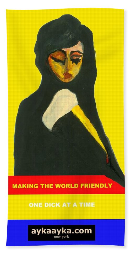 Making Hand Towel featuring the painting Making The World Friendly by Ayka Yasis