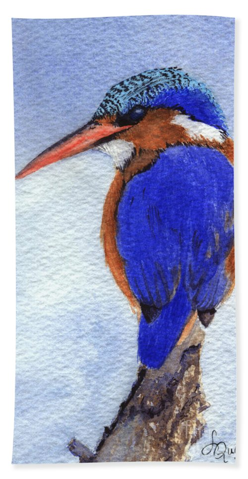 Bird Hand Towel featuring the painting Malachite Kingfisher by Lynn Quinn
