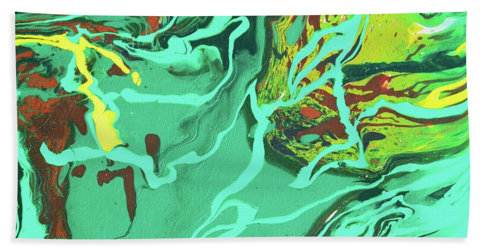 Fusionart Bath Towel featuring the painting Malachite by Ralph White