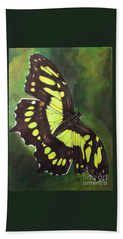 Butterfly Bath Sheet featuring the mixed media Malacite by Barbara Keith