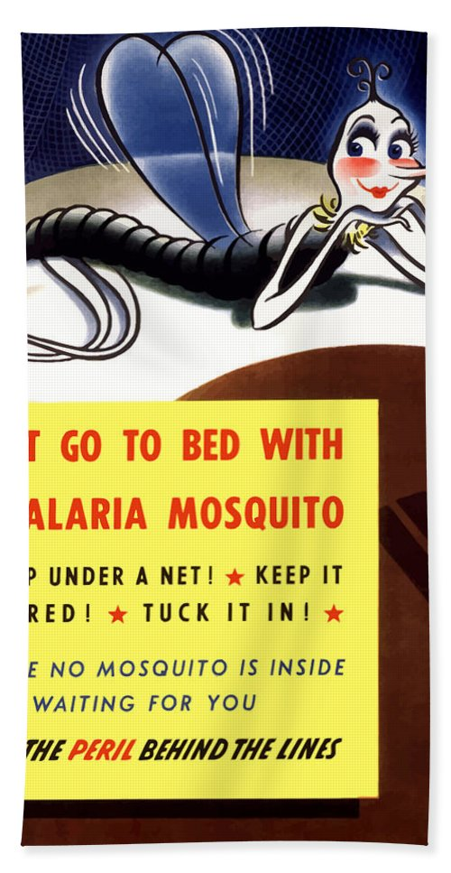 Mosquito Bath Towel featuring the painting Malaria Mosquito by War Is Hell Store