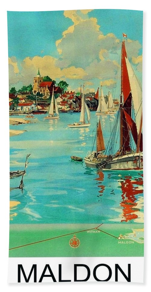Maldon Hand Towel featuring the painting Maldon, England, Sailing Boats by Long Shot