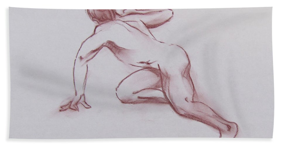 Male Bath Sheet featuring the drawing Male Nude 19 by Markus Neal Humby