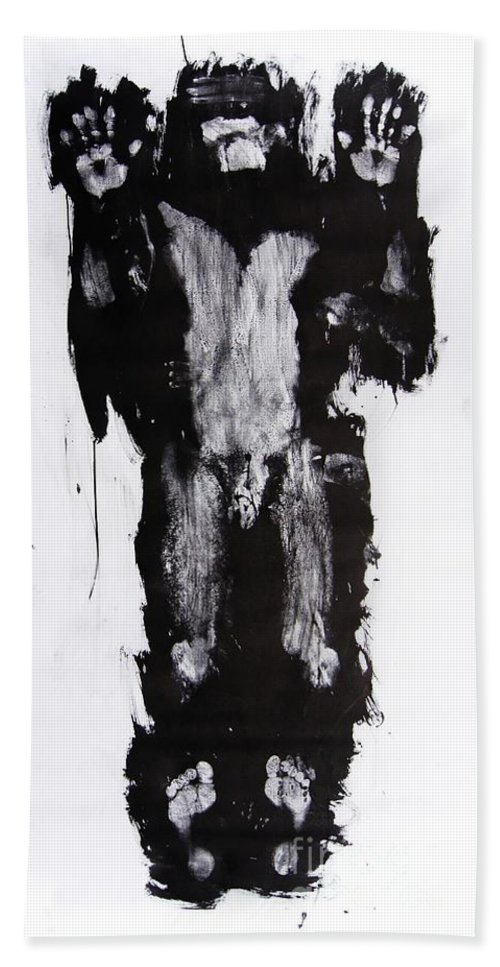 Male Hand Towel featuring the mixed media Male Nude Front by Erwin Bruegger