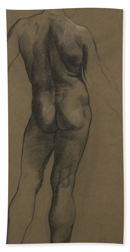 Nude Bath Towel featuring the painting Male Nude Study by Evelyn De Morgan
