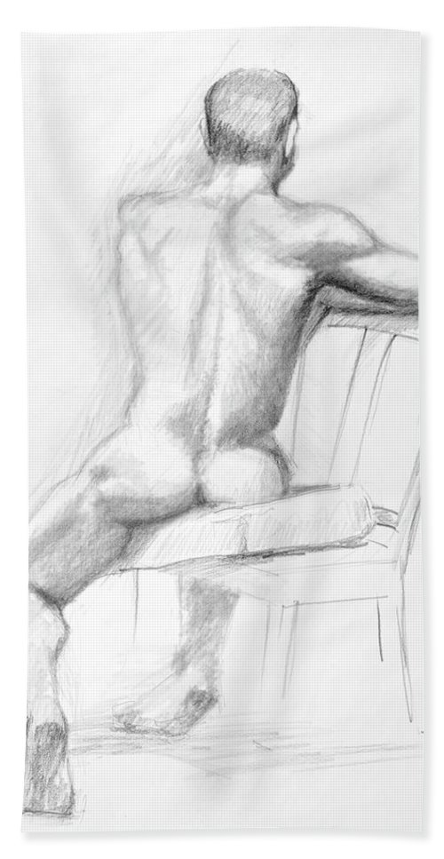 Male Hand Towel featuring the drawing Male Nude With Chair by Keith Burgess