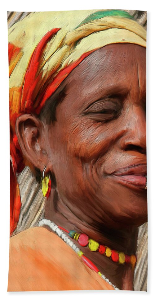 African Hand Towel featuring the painting Maleea by Dominic Piperata
