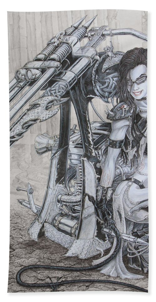 #bike Bath Towel featuring the drawing Malice by Kristopher VonKaufman