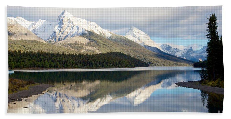 Jasper National Park Bath Sheet featuring the photograph Malingne Lake Reflection, Jasper National Park by Daryl L Hunter