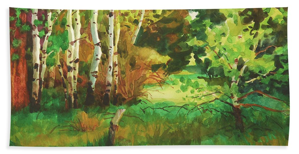 Country Bath Towel featuring the painting Mallard Grove by Steve Henderson