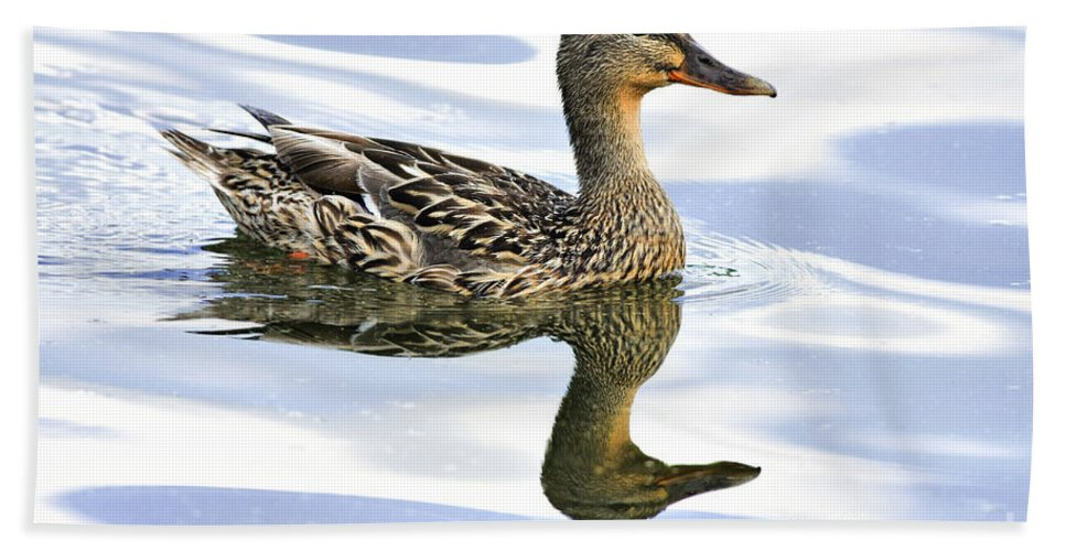 Bird Bath Sheet featuring the photograph Mallard Reflections by Deborah Benoit