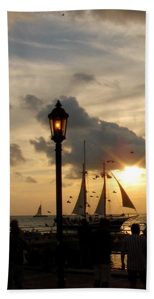 Photography Bath Sheet featuring the photograph Mallory Square Key West by Susanne Van Hulst