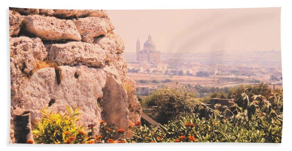 Malta Bath Towel featuring the photograph Malta Wall by Ian MacDonald