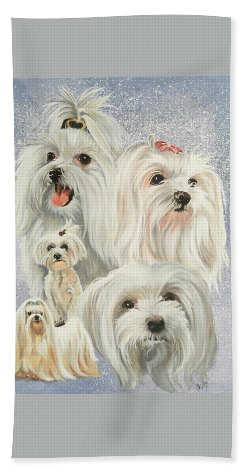 Dog Hand Towel featuring the painting Maltese Collage by Barbara Keith