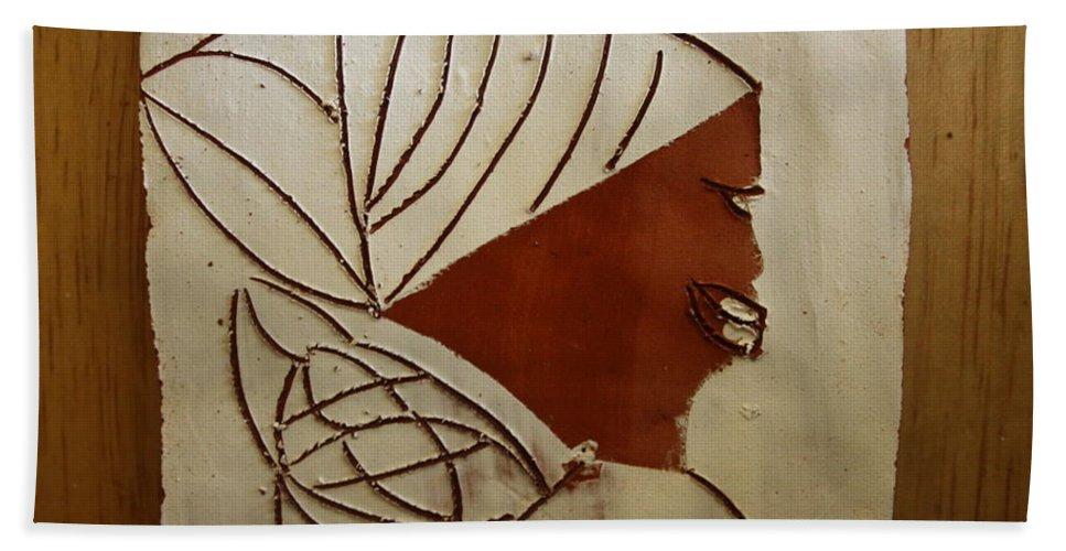 Jesus Hand Towel featuring the ceramic art Mama 3 - Tile by Gloria Ssali