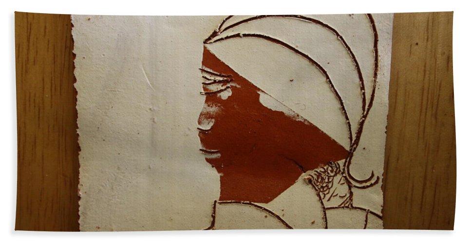Jesus Bath Sheet featuring the ceramic art Mama 4 - Tile by Gloria Ssali