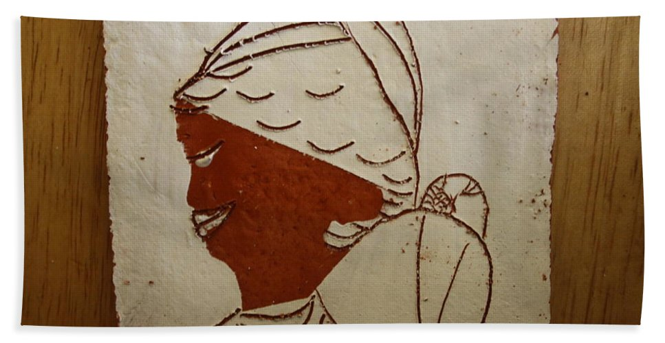 Jesus Bath Sheet featuring the ceramic art Mama 5 - Tile by Gloria Ssali
