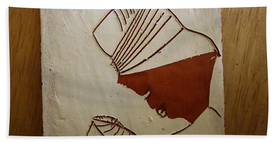 Jesus Hand Towel featuring the ceramic art Mama 6 - Tile by Gloria Ssali