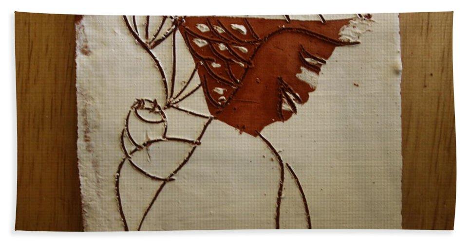 Jesus Hand Towel featuring the ceramic art Mama 7 - Tile by Gloria Ssali