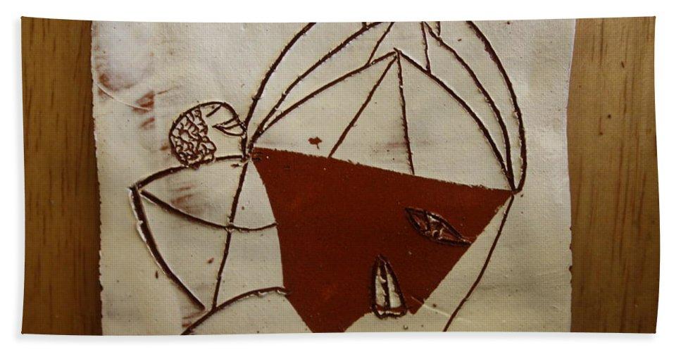 Jesus Bath Sheet featuring the ceramic art Mama 8 - Tile by Gloria Ssali