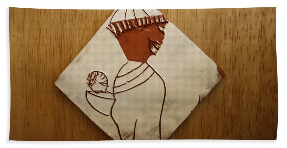 Jesus Bath Sheet featuring the ceramic art Mama 9 - Tile by Gloria Ssali