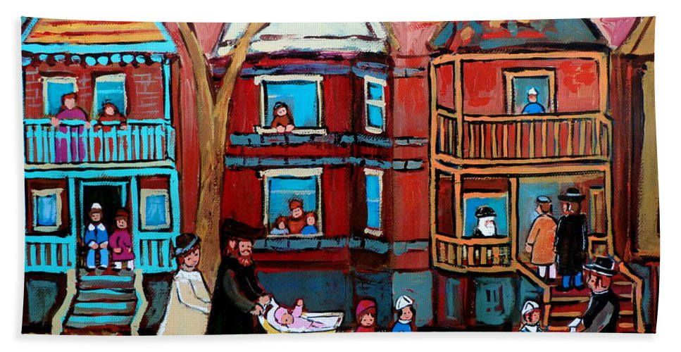 Hassidic Community Bath Sheet featuring the painting Mama Papa And New Baby by Carole Spandau