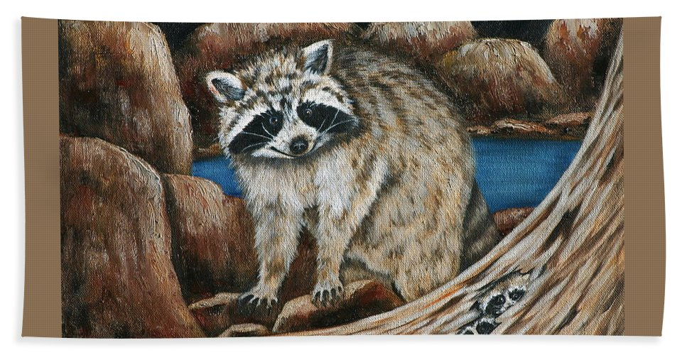 Racoon Bath Sheet featuring the painting Mama Racoon by Ruth Bares
