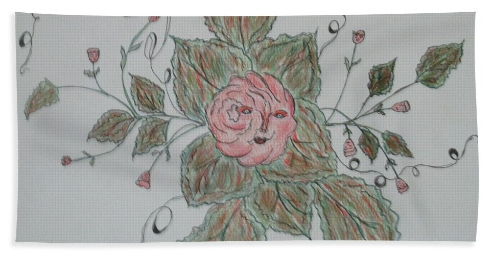Abstract Whimsical Joyful Fun Tales Roses Green Rose Orange Brown Hand Towel featuring the drawing Mama Rose And Her Babies by Sharyn Winters