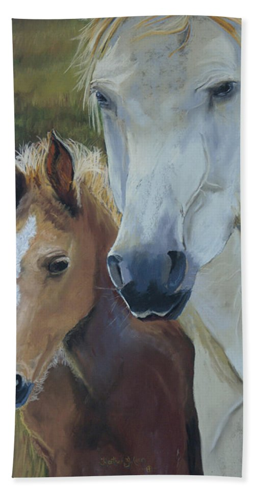 Horses Hand Towel featuring the painting Mama's Boy by Heather Coen