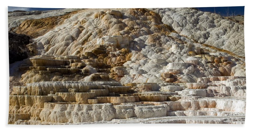 Mammouth Hot Springs Travertine Terrace Hand Towel featuring the photograph Mammouth Hot Springs by Sally Weigand