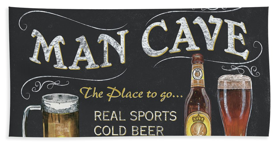 Sports Bath Towel featuring the painting Man Cave Chalkboard Sign by Debbie DeWitt