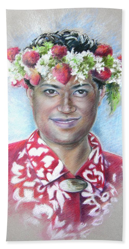 Tahiti Bath Sheet featuring the painting Man From Papeete In Tahiti by Miki De Goodaboom